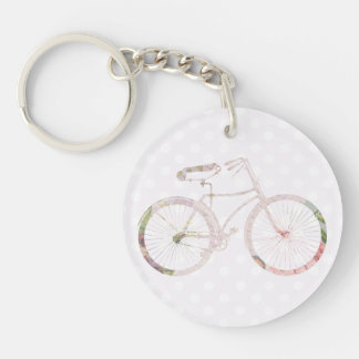 Girly Floral Bicycle Double-Sided Round Acrylic Keychain