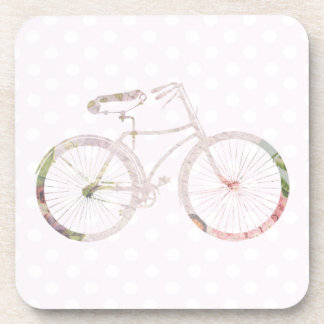 Girly Floral Bicycle Drink Coaster
