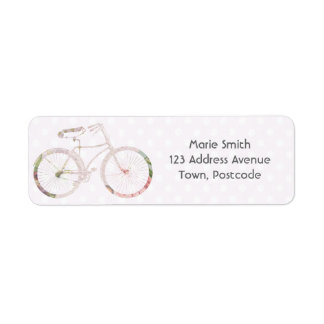 Girly Floral Bicycle Return Address Label