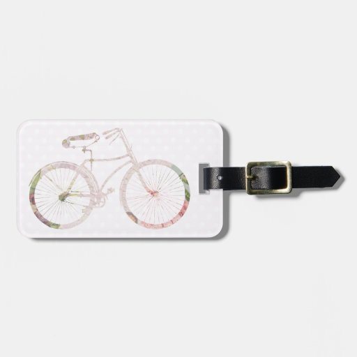 Girly Floral Bicycle Travel Bag Tag