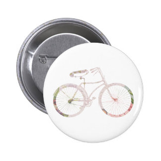 Girly Floral Bicycle Pinback Button