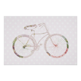 Girly Floral Bicycle Poster
