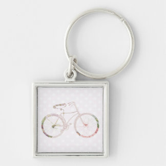 Girly Floral Bicycle Silver-Colored Square Keychain