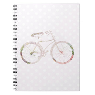 Girly Floral Bicycle Spiral Note Book
