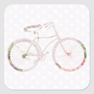 Girly Floral Bicycle Square Sticker