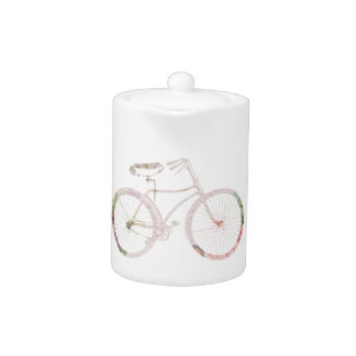 Girly Floral Bicycle Teapot