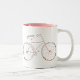 Girly Floral Bicycle Two-Tone Coffee Mug