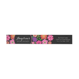 Girly Floral Birthday Party or Bridal Shower Wrap Around Label
