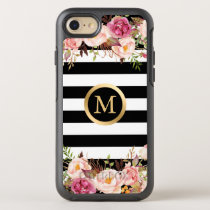 Girly Floral Black White Stripes Gold Initial Name OtterBox Symmetry iPhone 8/7 Case