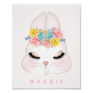 Girly Floral Bunny Face Pink Personalized Poster