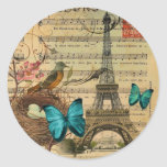 girly floral butterfly paris eiffel tower classic round sticker
