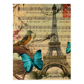girly floral butterfly paris eiffel tower postcard