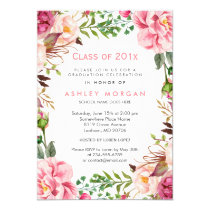 Girly Floral Chic Class of 2018 Graduation Party Card