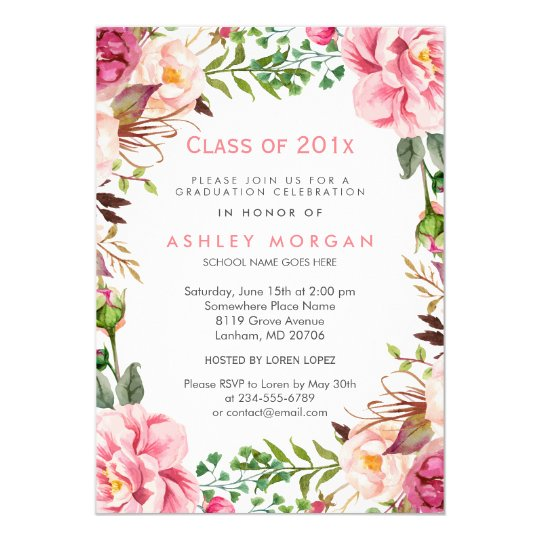 Graduation party invitations announcements zazzle girly floral chic class of 2018 graduation party card stopboris Gallery
