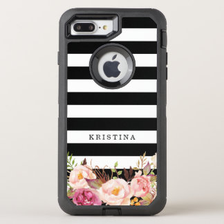 Girly Floral Decor | Classic Black White Stripes OtterBox Defender iPhone 7 Plus Case