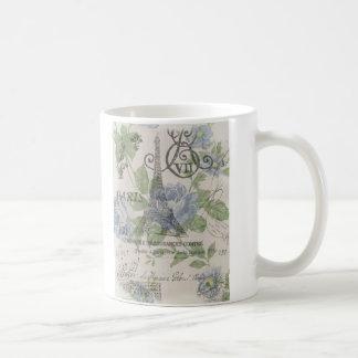 Girly floral elegant vintage Paris fashion Classic White Coffee Mug