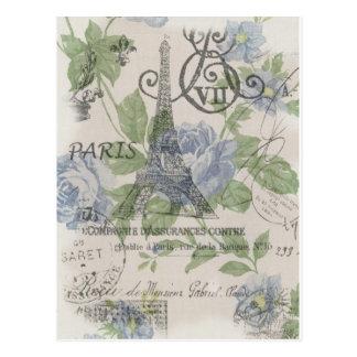 Girly floral elegant vintage Paris fashion Postcard
