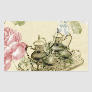 Girly floral elegant vintage Paris fashion Rectangle Stickers