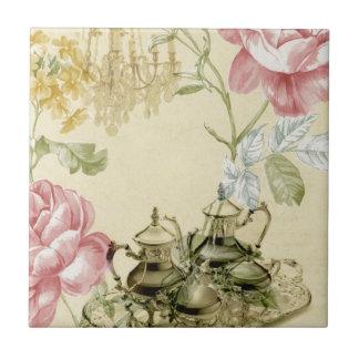 Girly floral elegant vintage Paris fashion Tiles