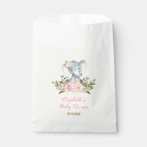 Girly Floral Elephant / Pink Gold Floral Party Favor Bag