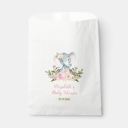 Girly Floral Elephant / Pink Gold Floral Party Favor Bag