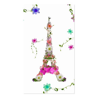 Girly Floral French Eiffel Tower Bright Flowers Business Cards
