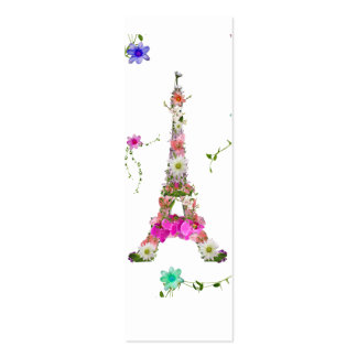 Girly Floral French Eiffel Tower Bright Flowers Double-Sided Mini Business Cards (Pack Of 20)