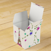 Girly Floral French Eiffel Tower Bright Flowers Favor Box