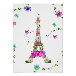 Girly Floral French Eiffel Tower Bright Flowers Poster