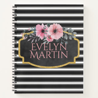 Girly Floral Gold Black & White Stripes Notebook