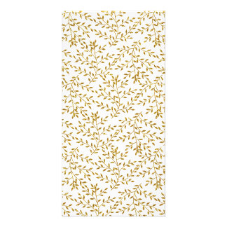 Girly Floral Gold Glitter Photo Print Card