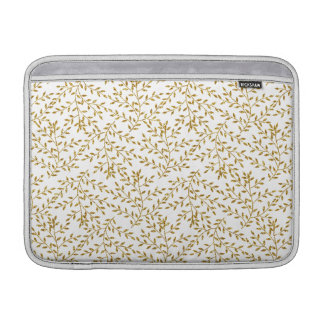 Girly Floral Gold Glitter Photo Print MacBook Air Sleeve
