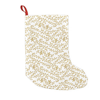 Girly Floral Gold Glitter Photo Print Small Christmas Stocking