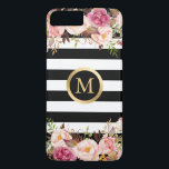 "Girly Floral Gold Monogram Black White Stripes iPhone 8 Plus/7 Plus Case<br><div class=""desc"">Decorate your iPhone in Style with this Personalized &quot;Girly Floral Gold Monogram Black White Stripes&quot; case!</div>"