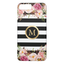 Girly Floral Gold Monogram Black White Stripes iPhone 8 Plus/7 Plus Case