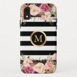 Girly Floral Gold Monogram Black White Stripes iPhone XR Case