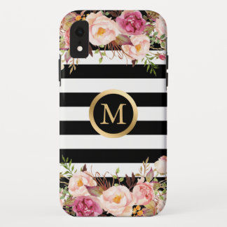 Girly Floral Gold Monogram Black White Stripes iPhone XR Case