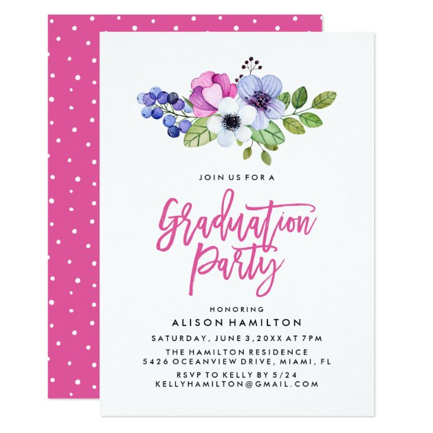 Girly Floral Graduation Party Invitation