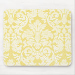Girly Floral Lace Pattern - yellow and white Mouse Pad