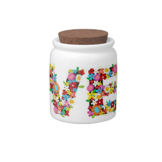 Girly Floral LOVE Candy Jar