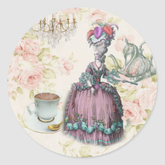 Girly floral Marie Antoinette Paris tea party Classic Round Sticker