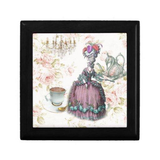 Girly floral Marie Antoinette Paris tea party Keepsake Boxes