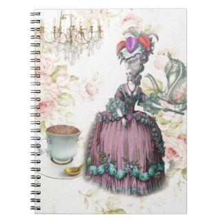 Girly floral Marie Antoinette Paris tea party Note Books