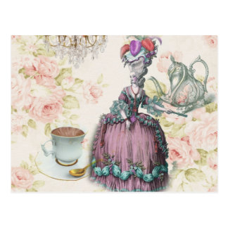 Girly floral Marie Antoinette Paris tea party Postcard