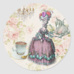 Girly floral Marie Antoinette Paris tea party Round Sticker