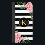 """Girly Floral Monogram Black White Striped iPhone 8/7 Plus Wallet Case<br><div class=""""desc"""">Decorate your iPhone to be as cool with this &quot;Girly Floral Monogram Black White Striped&quot; Unique Wallet Cover and make it more than just protective casing. If you need further customization, please click the &quot;Customize it&quot; button and use our advanced design tool to resize, rotate, change color, add text and...</div>"""