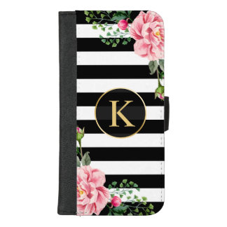 Girly Floral Monogram Black White Striped iPhone 8/7 Plus Wallet Case
