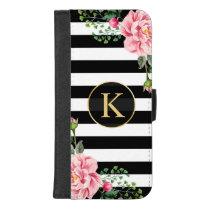 Girly Floral Monogram Black White Striped iPhone 8/7 Plus Wallet Case