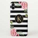 "Girly Floral Monogram Black White Striped iPhone X Case<br><div class=""desc"">Girly Floral Monogram Black White Striped iPhone X case.</div>"