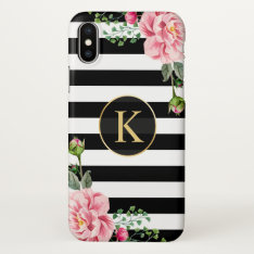 Girly Floral Monogram Black White Striped Iphone X Case at Zazzle